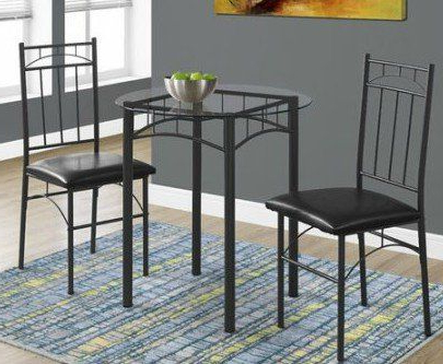 Fashionable By Home Design 3 Piece Dining Set, Metal – Round Tempered Glass Pertaining To Baillie 3 Piece Dining Sets (View 5 of 20)