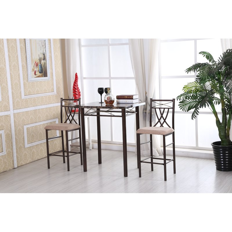 Fashionable Cincinnati 3 Piece Dining Sets With Andover Mills Cincinnati 3 Piece Dining Set & Reviews (View 9 of 20)