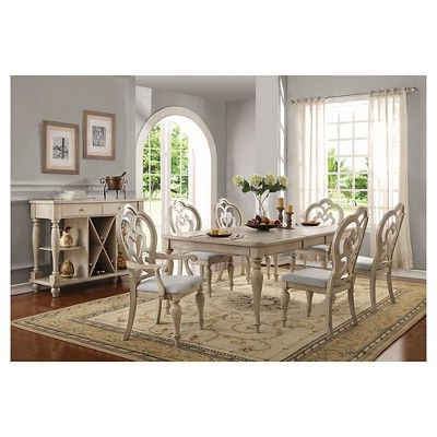 Favorite Mitzel 3 Piece Dining Sets Pertaining To Acme Furniture Abelin Arm Dining Chair (Set Of 2) – Antique White (View 4 of 20)