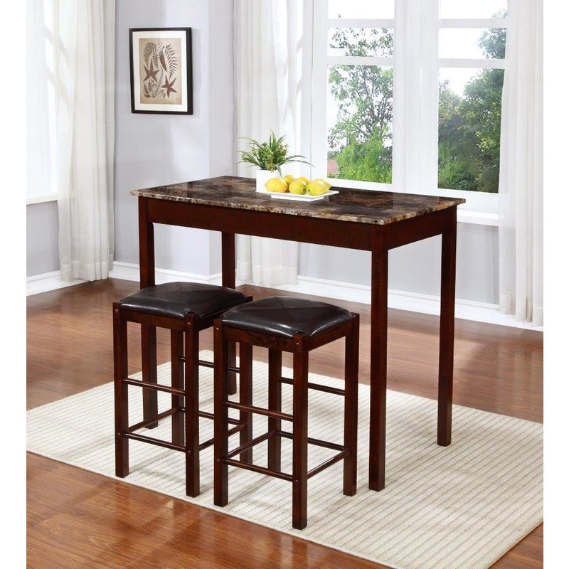 Favorite Penelope 3 Piece Counter Height Wood Dining Sets Pertaining To Winston Porter Rockford 3 Piece Faux Marble Counter Height Pub Table (View 3 of 20)