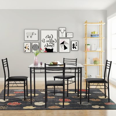 Glass Dining Pertaining To Autberry 5 Piece Dining Sets (Gallery 13 of 20)