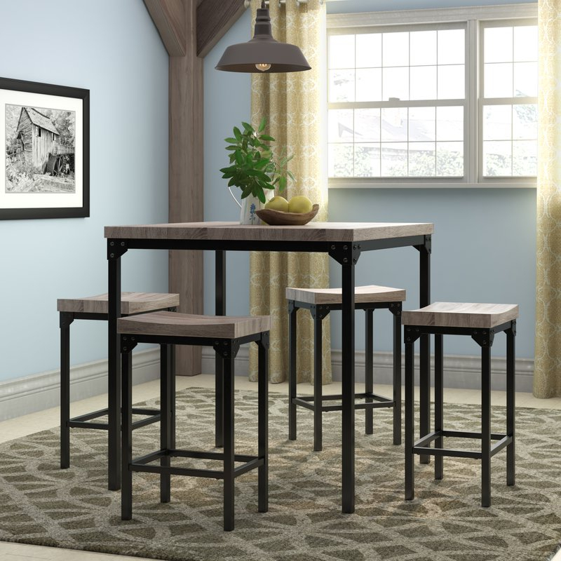 Gracie Oaks Wegner 5 Piece Counter Height Dining Set & Reviews (View 11 of 20)