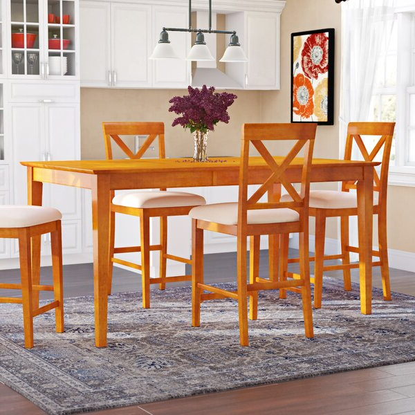 Hanska Wooden 5 Piece Counter Height Dining Table Sets (Set Of 5) For Most Current Reviews Napoli 7 Piece Dining Setwooden Importers Wonderful On (View 3 of 20)