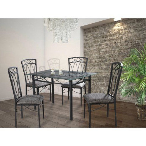 Home Source Industries 4380 Dining Table With Glass Top And 4 Chairs Pertaining To 2019 Kieffer 5 Piece Dining Sets (View 9 of 20)