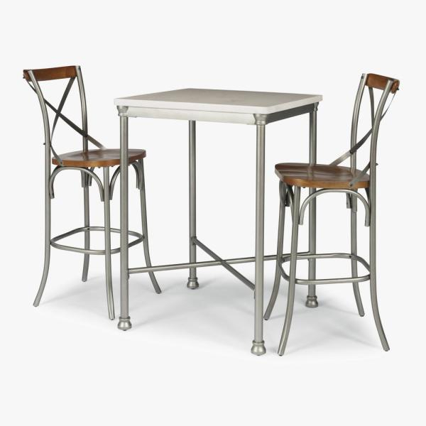 Home Styles Orleans 3 Piece White And Gray Bar Table Set 5060 358 With Newest Penelope 3 Piece Counter Height Wood Dining Sets (View 4 of 20)