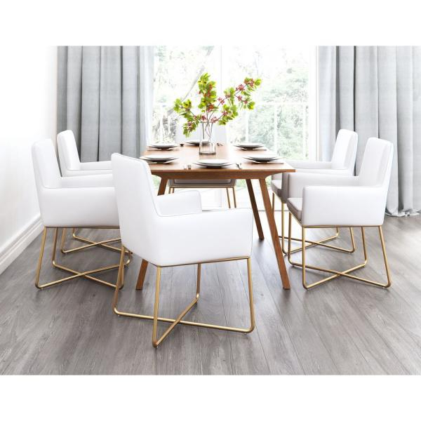 Honoria 3 Piece Dining Sets Inside 2019 Zuo Honoria White Arm Chair 101147 – The Home Depot (View 10 of 20)