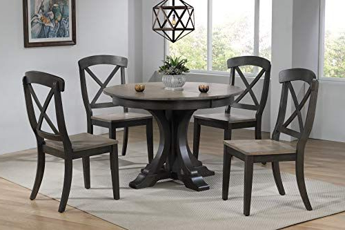 Iconic Furniture Company Rd45 Deco Bks Ch60 Grs Bks Dinning Set Throughout Well Liked Mukai 5 Piece Dining Sets (View 6 of 20)