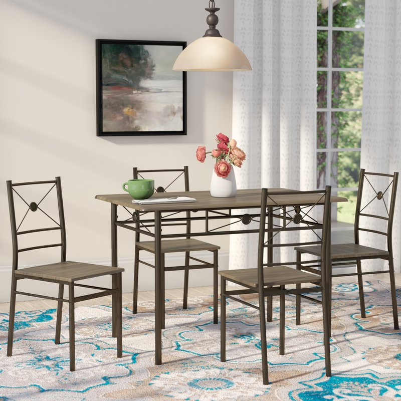 Jarrod 5 Piece Dining Sets Pertaining To Favorite Andover Mills Kieffer 5 Piece Dining Set & Reviews (View 5 of 20)