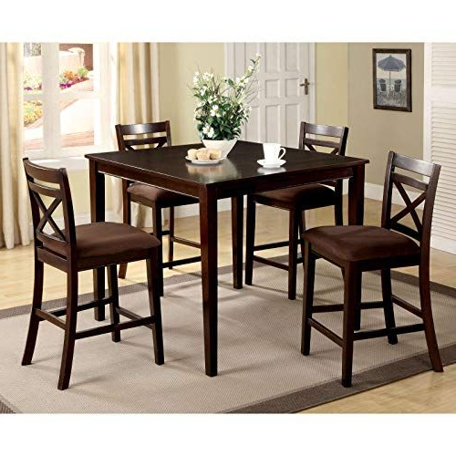 Jaxterrific Elegant 5 Piece Counter Height Table Set, Classic X Intended For Popular Hanska Wooden 5 Piece Counter Height Dining Table Sets (set Of 5) (View 10 of 20)
