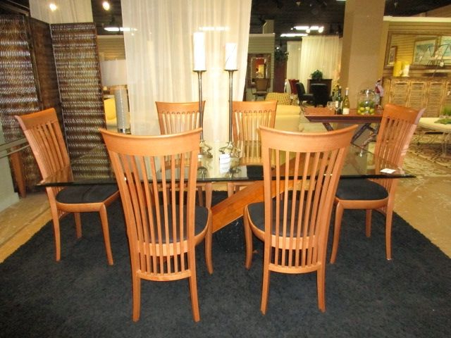 Kernville 3 Piece Counter Height Dining Sets Intended For Best And Newest A. Sibau Glass Top Dining Table With Six Chairs. A (View 8 of 20)