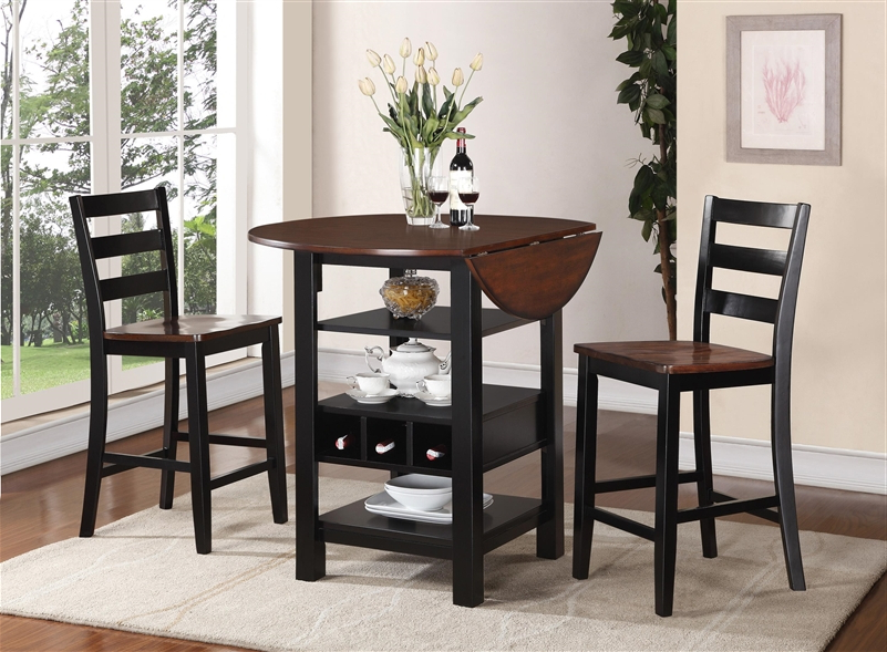 Kimball 3 Piece Counter Height Dining Set In Black And Cherry Two Pertaining To Most Recently Released 3 Piece Dining Sets (View 13 of 20)