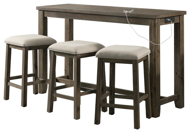 Kinsler 3 Piece Bistro Sets Regarding Well Liked Stanford Multipurpose Bar Table Set, – Transitional – Indoor Pub And (View 16 of 20)
