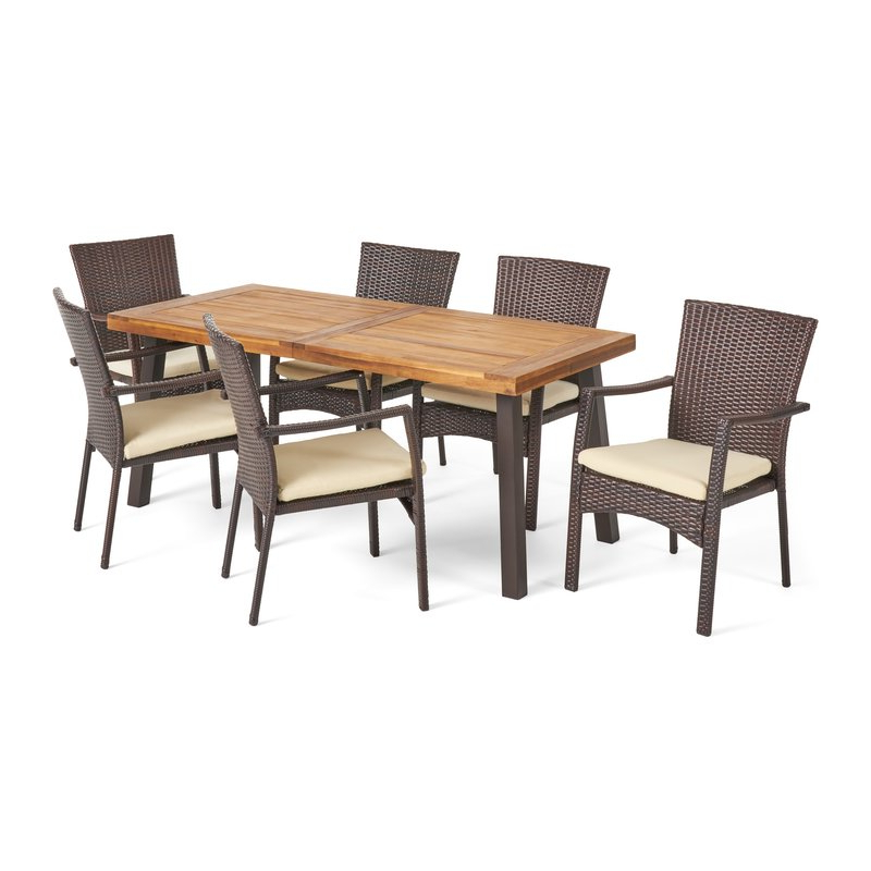 Kissena 7 Piece Teak Dining Set & Reviews (View 6 of 20)