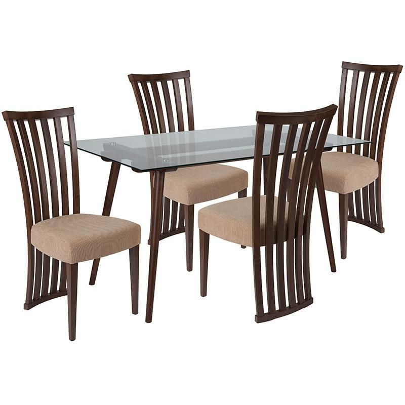 Lakewood 5 Piece Wood Dining Table Set With Glass Top And Dramatic With Famous Conover 5 Piece Dining Sets (View 8 of 20)