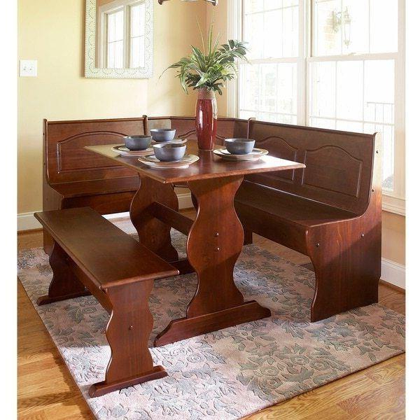 Latest 3 Pc Walnut Wooden Breakfast Nook Dining Set Corner Booth Bench In 3 Piece Breakfast Nook Dinning Set (View 12 of 20)