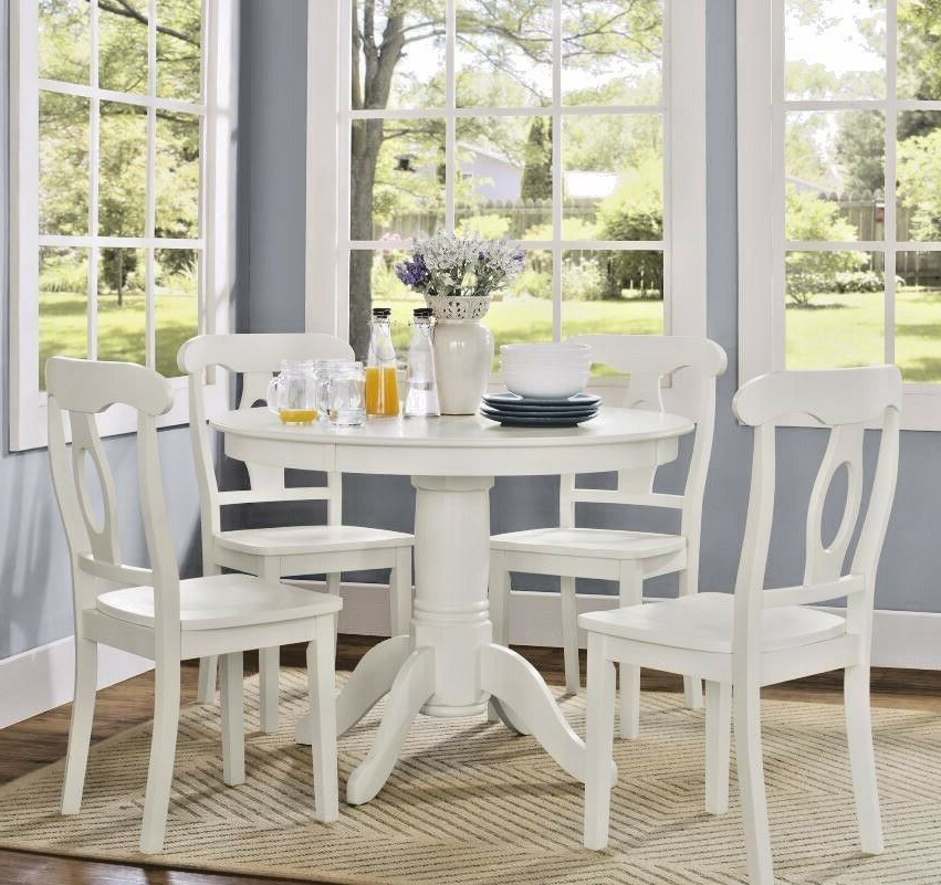 Latest Breakfast Nook Dining Table Set 4 Chairs White Round Pedestal 5 Piece  Kitchen (Gallery 12 of 20)