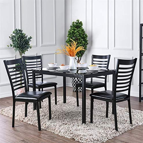 Latest Furniture Of America Torrance 5 Piece Glass Top Dining Set In Black For Casiano 5 Piece Dining Sets (View 3 of 20)