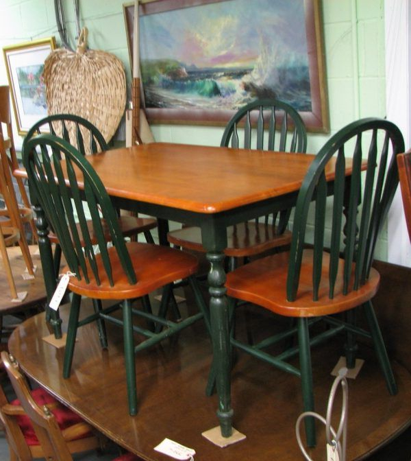 Latest Goodman 5 Piece Solid Wood Dining Sets (set Of 5) With Fascinating Country Kitchen Table And Chairs With Dark Green Color (View 18 of 20)