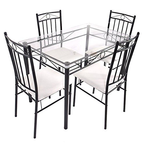 Latest Stouferberg 5 Piece Dining Sets Throughout Set 5Pcs Glass Top Dining Table Set W/ 4 Upholstered Chair Ebook (View 6 of 20)