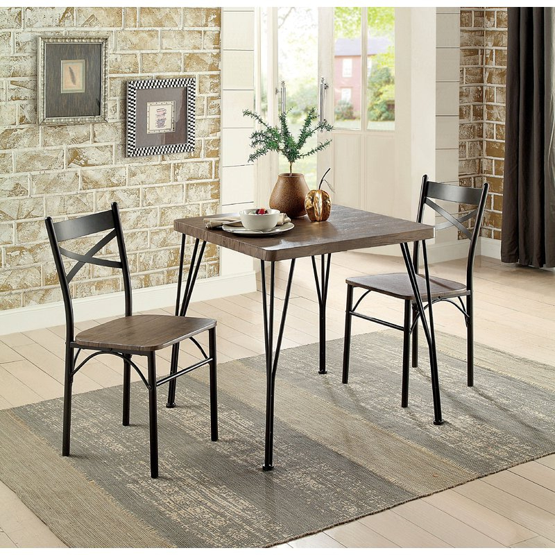 Laurel Foundry Modern Farmhouse Guertin 3 Piece Dining Set & Reviews Regarding Well Known Rossiter 3 Piece Dining Sets (View 7 of 20)