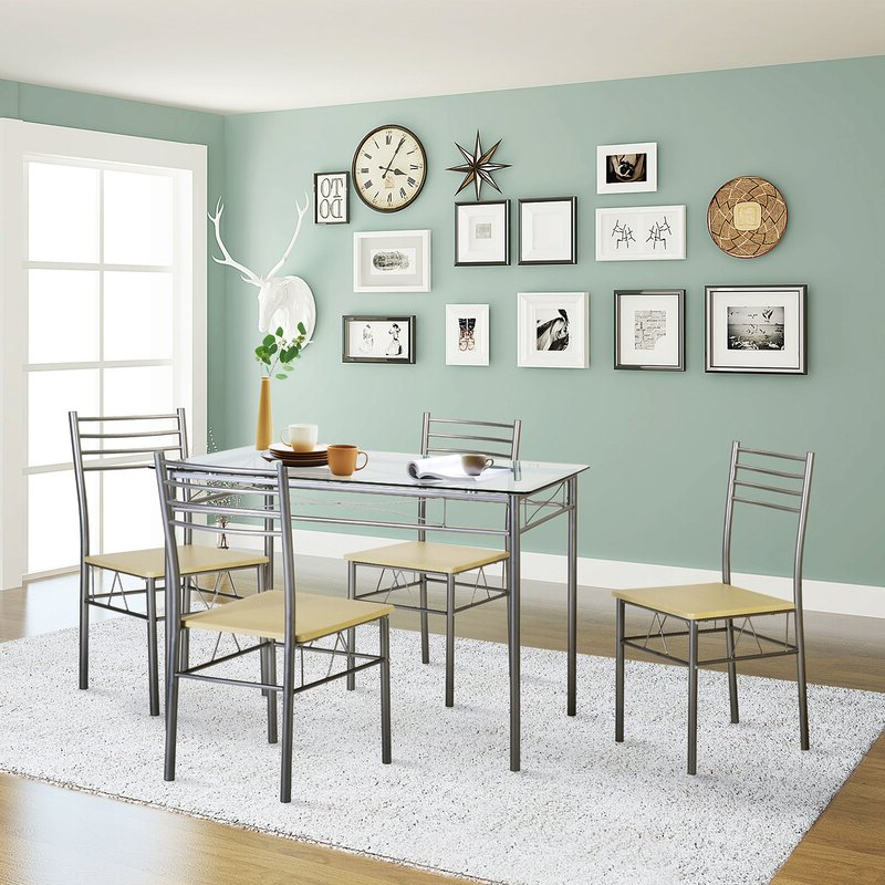 Lightle 5 Piece Breakfast Nook Dining Sets With Regard To Most Recently Released Ebern Designs Liles 5 Piece Breakfast Nook Dining Set & Reviews (Gallery 11 of 20)