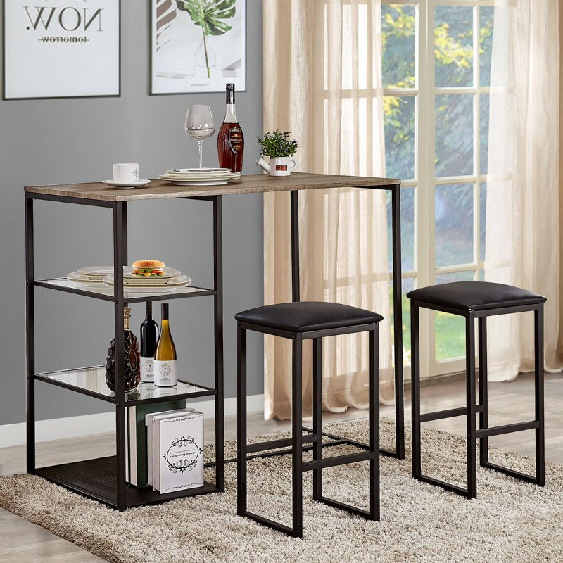 Ligon 3 Piece Breakfast Nook Dining Sets Inside Well Liked Ebern Designs Ligon 3 Piece Breakfast Nook Dining Set & Reviews (View 3 of 20)