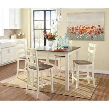 Linette 5 Piece Dining Table Sets Throughout Popular Woodanville – White/brown – Square Counter Tbl Set (5/cn) (View 7 of 20)