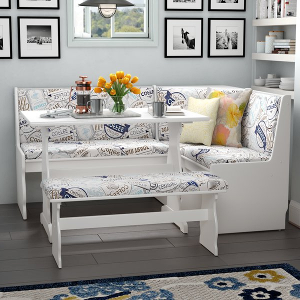Maloney 3 Piece Breakfast Nook Dining Sets Pertaining To Trendy Kitchen Corner Bench Nook (View 6 of 20)
