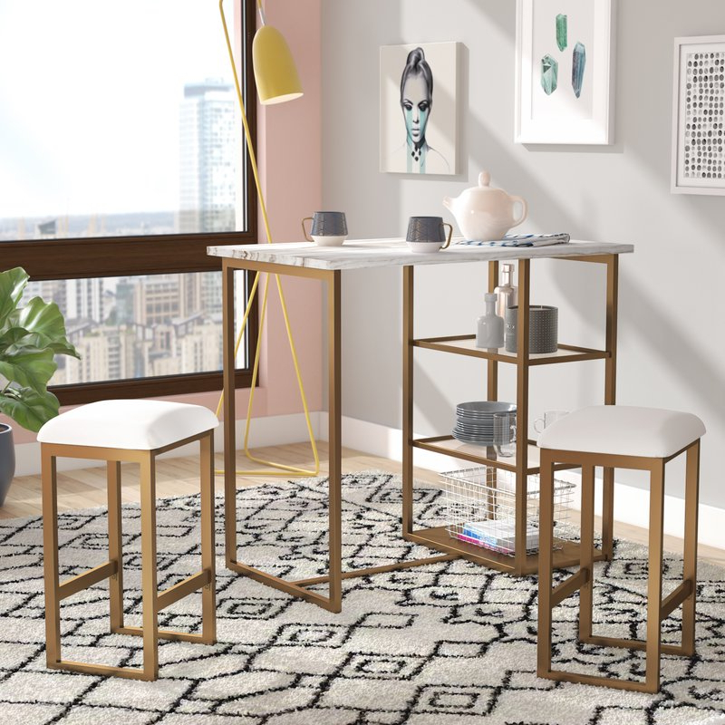 Mercury Row Denham 3 Piece Pub Table Set Intended For Kaya 3 Piece Dining Sets (View 8 of 20)