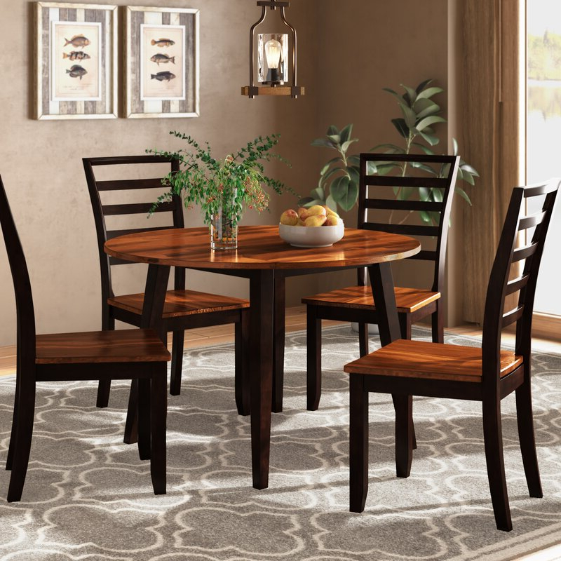 Millwood Pines Hidalgo 5 Piece Drop Leaf Solid Wood Breakfast Nook Within 2019 5 Piece Breakfast Nook Dining Sets (View 13 of 20)