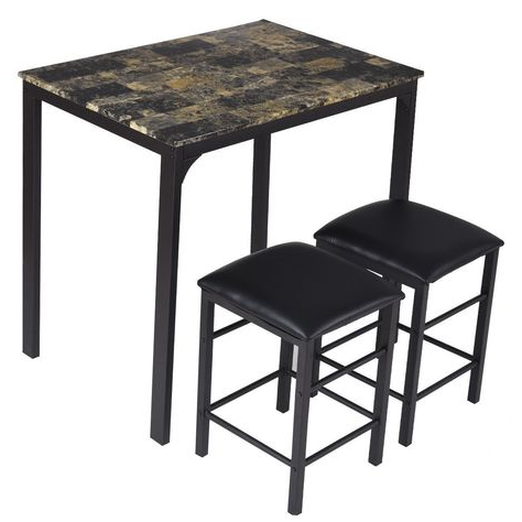Miskell 3 Piece Dining Sets For Well Liked Winston Porter Miskell 3 Piece Dining Set (View 5 of 20)
