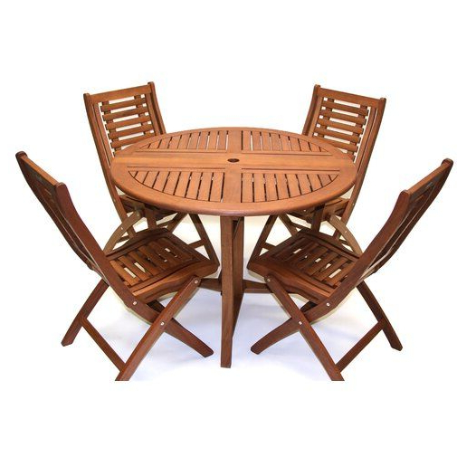 Miskell 5 Piece Dining Sets For Preferred Roseland Brazilian Eucalyptus 5 Piece Dining Set In  (View 5 of 20)
