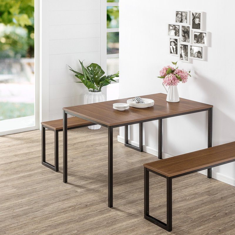 Modern Rustic Interiors Frida 3 Piece Dining Table Set & Reviews Intended For Recent Frida 3 Piece Dining Table Sets (View 3 of 20)