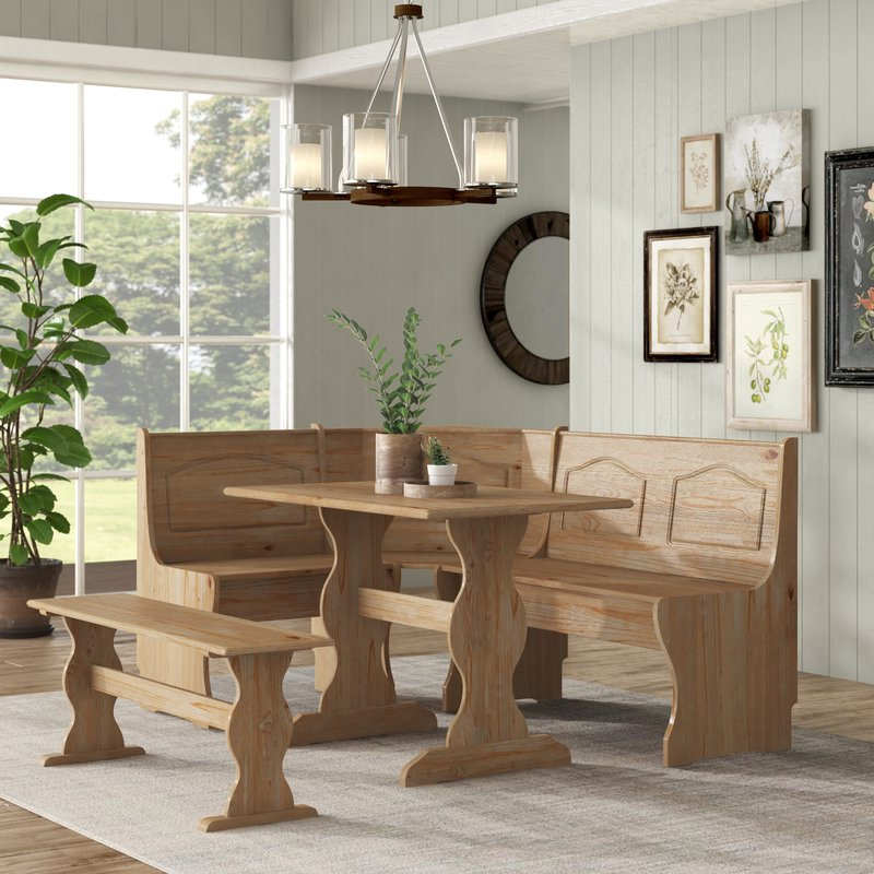 Most Current 3 Piece Breakfast Dining Sets For August Grove Padstow 3 Piece Breakfast Nook Dining Set & Reviews (Gallery 15 of 20)