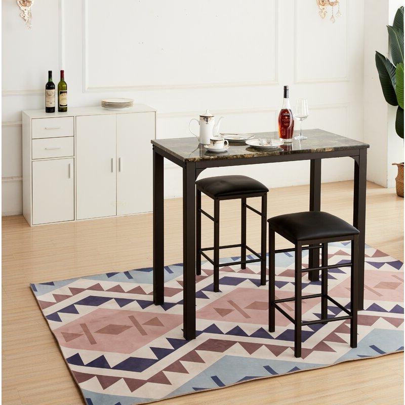 Most Current Ebern Designs Lillard 3 Piece Breakfast Nook Dining Set (View 2 of 20)