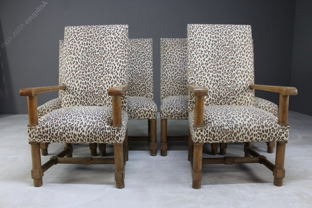 Most Current Set Arts & Crafts Oak Upholstered Dining Chairs – Antiques Atlas With Kerley 4 Piece Dining Sets (View 17 of 20)