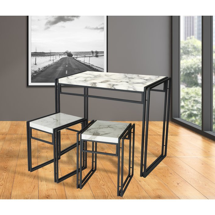 Most Current Williston Forge Debby Small Space 3 Piece Dining Set & Reviews Intended For Debby Small Space 3 Piece Dining Sets (View 3 of 20)