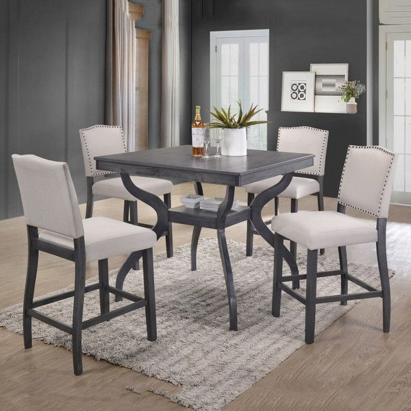 Most Popular 5 Pc Paulina Collection Antique Gray Finish Wood Counter Height Regarding Rossiter 3 Piece Dining Sets (View 9 of 20)