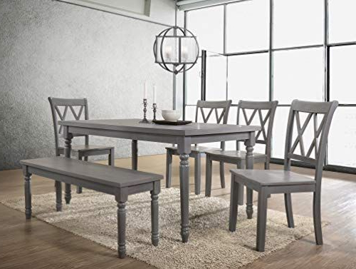 Most Popular Best Master Furniture Paige 6 Pcs Dining Set With Bench Rustic Grey With Regard To Miskell 5 Piece Dining Sets (View 14 of 20)