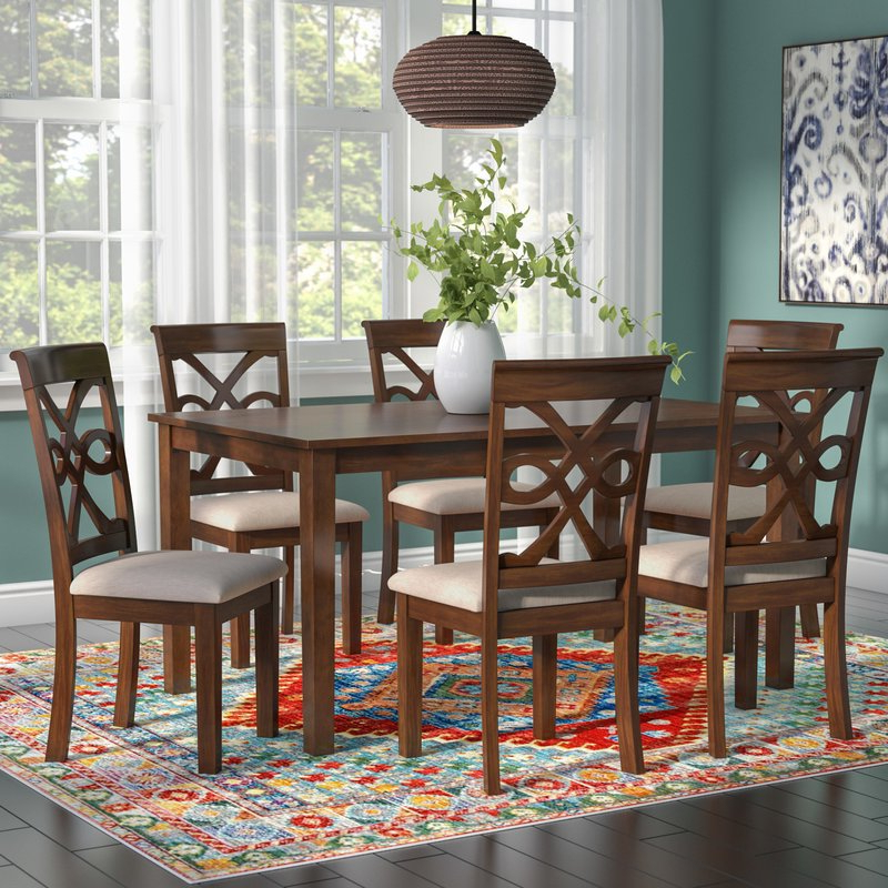 Most Popular Laconia 7 Pieces Solid Wood Dining Sets (Set Of 7) Pertaining To World Menagerie Duron 7 Piece Dining Set & Reviews (View 10 of 20)
