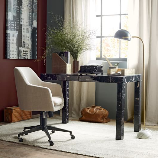 Most Popular Parsons Desk – Black Marble Decoupage (View 14 of 20)