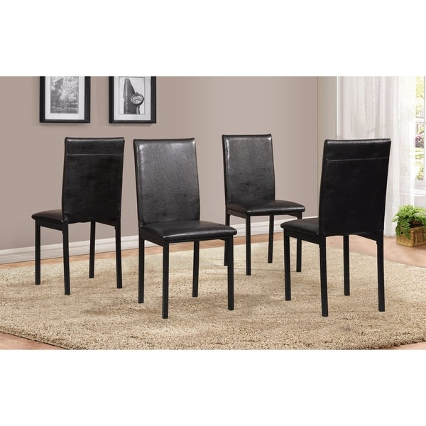 Most Popular Shop Noyes Faux Leather Seat Metal Frame Black Dining Chairs, Set Of With Noyes 5 Piece Dining Sets (View 7 of 20)