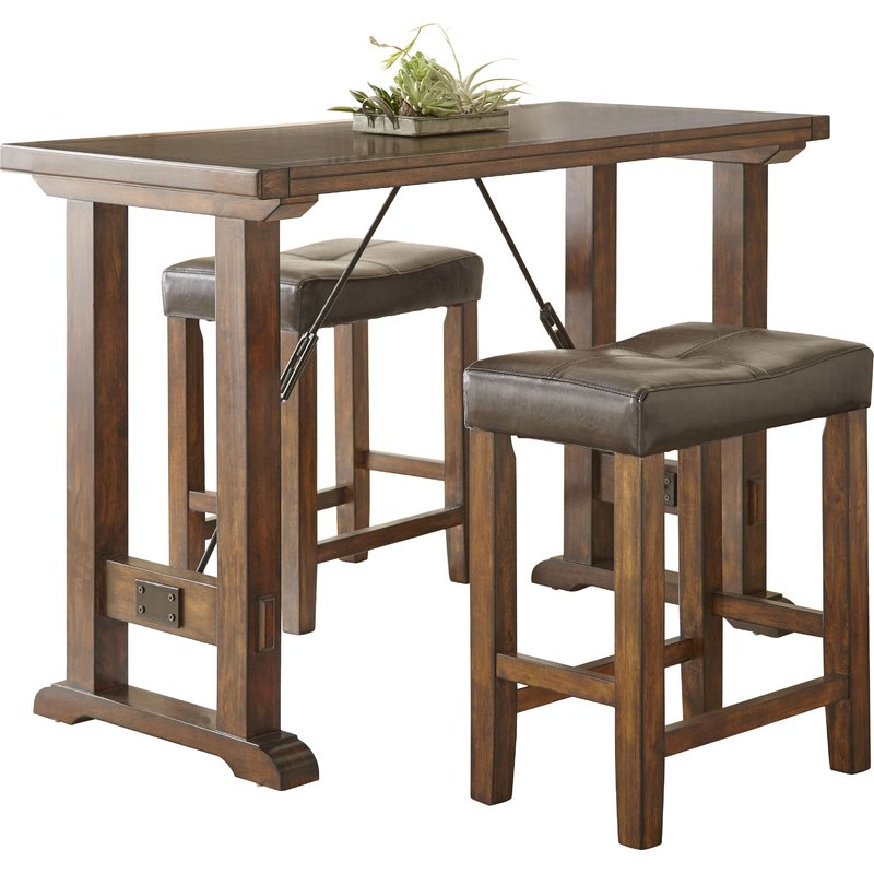 Most Recent Alcott Hill Norrell 3 Piece Counter Height Dining Set & Reviews In Poynter 3 Piece Drop Leaf Dining Sets (View 2 of 20)
