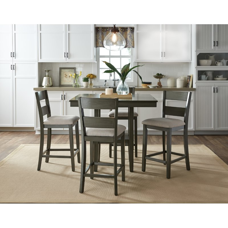 Most Recent Bryson 5 Piece Dining Sets For Gwyneth 5 Piece Counter Height Dining Set & Reviews (View 15 of 20)