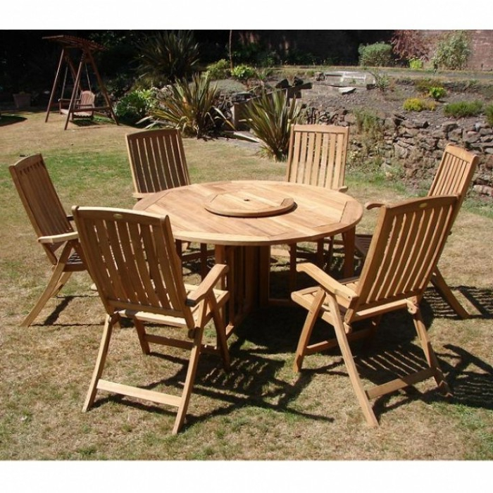 Most Recent Buy Amir, Royalcraft Kensington Teak Furniture Set With 6 Mayfair With Regard To Amir 5 Piece Solid Wood Dining Sets (Set Of 5) (View 9 of 20)