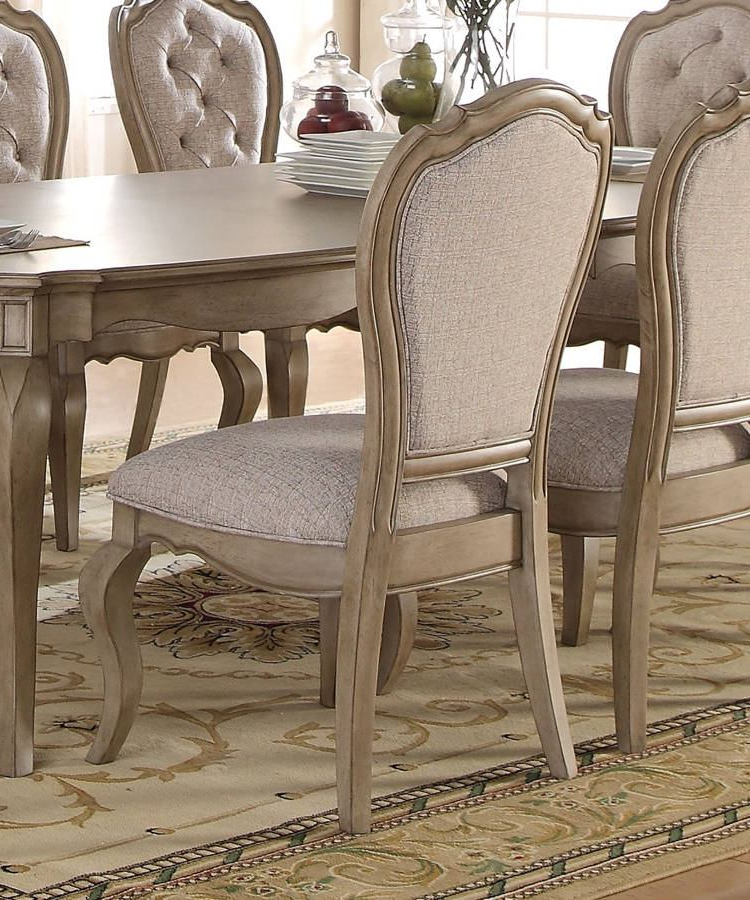 Most Recent Chelmsford 3 Piece Dining Sets Regarding Acme Chelmsford Side Chair In Antique Taupe (Set Of 2) 66052 (Gallery 8 of 20)