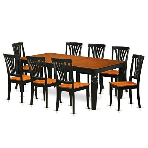 Most Recent East West Furniture Lgav9Bchw 9 Pc Kitchen Dinette Set With One Regarding Kieffer 5 Piece Dining Sets (View 15 of 20)