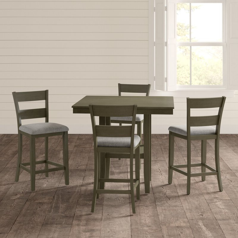 Most Recent Gwyneth 5 Piece Counter Height Dining Set & Reviews (View 19 of 20)
