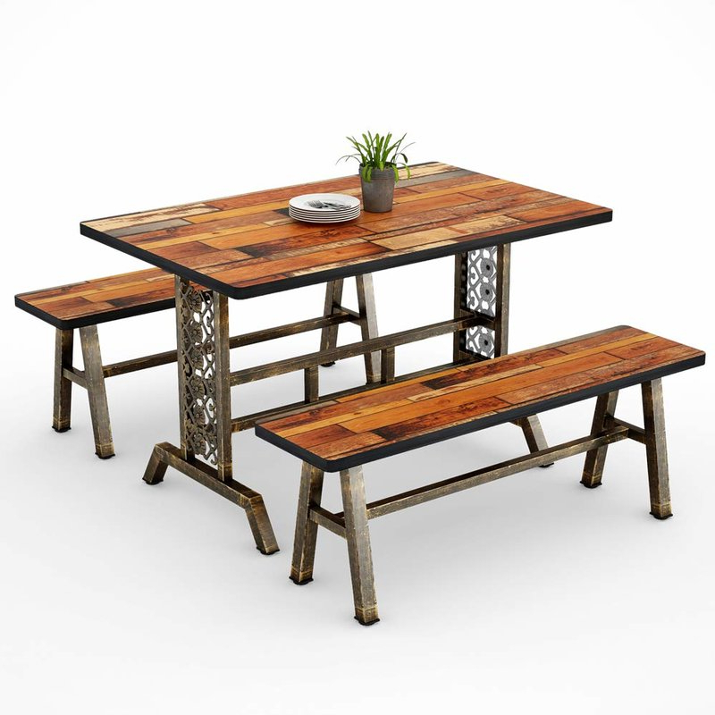 Most Recent Millwood Pines Shepparton Vintage 3 Piece Dining Set (Gallery 1 of 20)