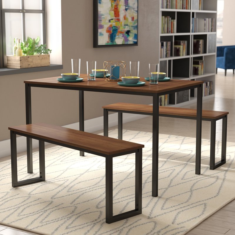 Most Recent Modern Rustic Interiors Frida 3 Piece Dining Table Set & Reviews With Regard To Rossiter 3 Piece Dining Sets (Gallery 3 of 20)